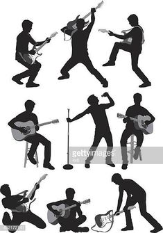 Hombre tocando la guitarra Action Poses, Illustrations, Silhouette, Deen, Ss, Movie Posters, Movies, Character, Random