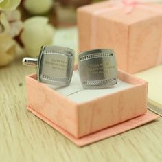 Wedding Favors - $38.99 - Personalized Stainless Steel Cufflinks  http://www.dressfirst.com/Personalized-Stainless-Steel-Cufflinks-118032749-g32749