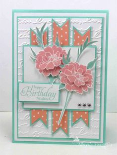 Stampin' Up! stamp set Fabulous Florets, Pretty Print embossing folder - I can work up something with this kind of layout. Making Greeting Cards, Greeting Cards Handmade, Handmade Birthday Cards, Happy Birthday Cards, Birthday Wishes, Embossed Cards, Beautiful Handmade Cards, Stamping Up Cards, Flower Cards
