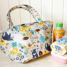 Insulated Lunch Bag  Japanese Cotton Fabric by cottonblue on Etsy, $19.00