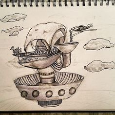 Check out this quick #penandink #airship #drawing by @emiliomaldonado89. He drew this #sky #village #sketch for #inktober and although he said it was quick sketch I like this #conceptart. Great piece Emilio!