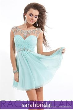 2015 Summer Fall Homecoming Dresses For 8th Grade Graduation Girls Gowns Hot Sale Cheap Crew Neck Crystal Short Backless Chiffon Prom Wear Online with $82.93/Piece on Sarahbridal's Store | DHgate.com