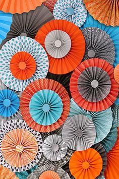 2438 Pinwheel Rosettes Orange Teal Gray Circus Carnival Backdrop