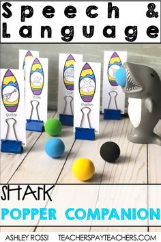 The shark ball popper toy is a huge motivator in speech therapy. This activity is great for reinforcement of any articulation and language goal. Check out this FUN resource on TPT! #speechtherapy #articulation #tpt #speechactivities #elementary #preschool