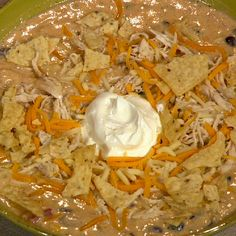 Chicken Tortilla Soup Trisha Yearwood but I added rotel! Best tortilla soup I've ever had! Crockpot Recipes, Soup Recipes, Chicken Recipes, Cooking Recipes, Chicken Soups, Yummy Recipes, Cheap Recipes, Chowder Recipes, Chicken