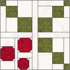 "This is the tenth quilt block for the ""Have a Jolly Little Christmas"" quilt along! All the details for the""Have a Jolly Little Christmas"" quilt along arethis page. Holly & Berries is a Christmas Blocks, Christmas Quilt Patterns, Barn Quilt Patterns, Christmas Sewing, Christmas Quilting, Christmas Crafts, Quilting Projects, Quilting Designs, Quilting Ideas"