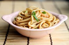 """Spicy garlic noodles, a friend's comments: """"This recipe is the closest yet to the noodles I ate for breakfast almost every morning in China. I'm thinking chili oil instead of chili flakes, a little more garlic, and sweet potato noodles from Chinatown, and it will be perfect. As written, it is mighty fine."""""""