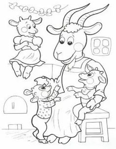 The seven goats - Healthy Food Art Snow White Coloring Pages, Coloring For Kids, Coloring Pages For Kids, Coloring Sheets, Coloring Books, Disney Drawings Sketches, Drawing Sketches, Wolf, Preschool Writing