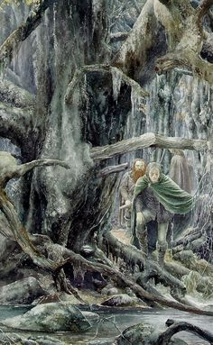"""""""Searching Fangorn"""", watercolor illustration of Gimli and Legolas in the Fangorn Forest by amazing illustrator - Alan Lee. Alan Lee, Gandalf, Legolas, Hobbit Art, O Hobbit, Hobbit Hole, Tolkien Books, J. R. R. Tolkien, Fellowship Of The Ring"""