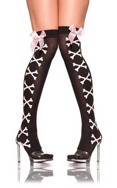 Lucky Doll Bikini and Lingerie - Sexy Black Pink Crossbones Thigh high stockings with Pink Satin Bow, P320.00 (http://store-4d3c1.mybigcommerce.com/sexy-black-pink-crossbones-thigh-high-stockings-with-pink-satin-bow/)
