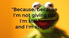 Whether Kermit or Churchill, Never, never, never give up. #Quotes #Kermit #Muppets