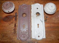 vintage chippy paint door knob set including screws by BandCEmporium, $33.95