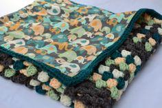 Elephants on parade crochet baby blanket, granny square reversible | valkinthreads - Children's on ArtFire