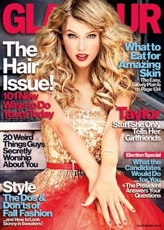Taylor Swift on the cover of the November 2012 issue of Glamour magazine. Description from kipmoore.org. I searched for this on bing.com/images