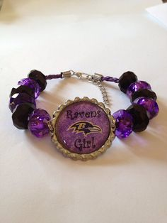"Baltimore Ravens Football Inspired Beaded Purple Leather Adjustable Bracelet with Purple & Black Beads with Ravens Girl Pendant 8""-9"""