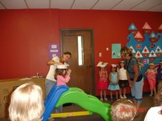 Love this idea letting these preschoolers SLIDE into Kindergarten at Graduation party!