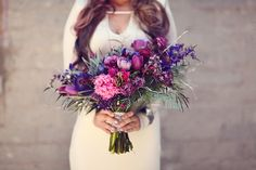Large Geometric Bouquet with Purple, Blue and Pink - Galaxy Wedding Shoot   Styling by Harmony Creative Studio   Bouquet by Primary Petals   Photography by Lukas and Suzy VanDyke Photography