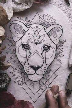 – Tattoo ideen – - Sites new Pencil Art Drawings, Art Drawings Sketches, Animal Drawings, Tattoo Drawings, Future Tattoos, Love Tattoos, Body Art Tattoos, Geometric Tatto, Lioness Tattoo