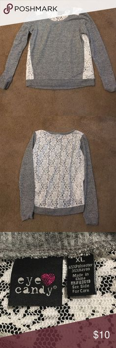 Gray lace back sweatshirt. Gray lace back light weight sweatshirt. Says xl but fits like a med/ large. It is so soft. Tops