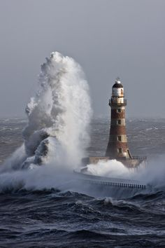 Lighthouse and the Ocean Wave. See the wave's height.I have had ocean waves hitting the glasses of the wheel house, nearly ft above the deck. Beautiful World, Beautiful Places, Sunderland England, Wind Surf, Giant Waves, Lighthouse Pictures, Ocean Waves, Belle Photo, Wonders Of The World