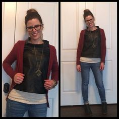 For today's look, I'm restyling the faux leather top I wore on Sunday, and the maroon cardigan I wore on Monday!! One my FAVE things about fall/winter fashion is that with layering, you can create SO many different looks just by mixing and matching!! 👍🏻 #ootd -------------------------------------------- P.S. I got this faux leather top from mark by Avon and I'm absolutely in love with it!!❤ Can't wait till it warms up a b... See this Instagram photo by @myswtobsessions • 11 likes
