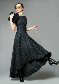 длинное клетчатое платье