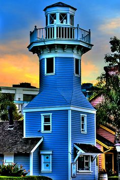 Seaport Village - San Diego, California-I would love to visit every lighthouse in the world. San Diego, Lighthouse Pictures, Beacon Of Light, Water Tower, Beautiful Places, Around The Worlds, Cottage, Mansions, House Styles