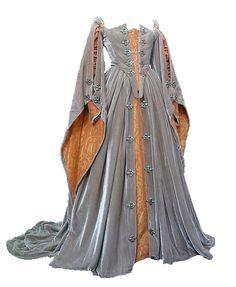 Abito in velluto grigio e broccato arancio, in stile veneziano. Costo £120