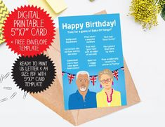 Funny Great British Bake Off birthday card, GBBO Birthday Card for baker Birthday Cards, Happy Birthday, Gbbo, Great British Bake Off, Templates, Digital, Handmade Gifts, Funny, Etsy