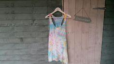 Women's vest top/dress. Blue, pink, yellow, purple & green. Size 10