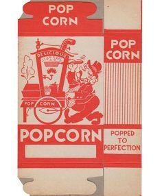 Vintage Popcorn Box with Popcorn Vendor Graphics - Never Used Popcorn Packaging, Box Packaging, Packaging Design, Vintage Ads, Vintage Images, Diner Aesthetic, Cardboard Cartons, Corn Pops, Popcorn Bags