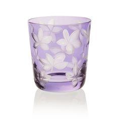 BLOSSOM    Handmade Glass Blown Small Tumbler, Blossom-Lavender 1922, height: 85 mm   top diameter: 78 mm   volume: 220 ml   Bohemian Crystal   Crystal Glass   Luxurious Glass   Hand Engraved   Original Gift for Everyone   clarescoglass.