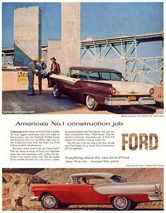 1957 Ford Fairlane 500 Club Victoria - America's No.1 construction job - Original Ad
