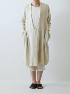 recycled cotton linen 2way cardigan