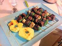 Pineapple and Beef Kabobs.