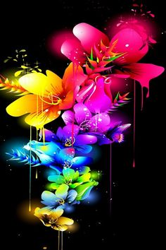 Array of Flowing Colorful Flowers