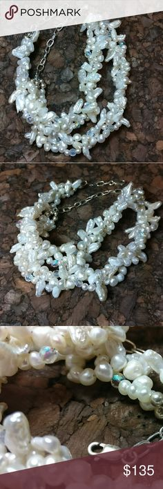 "Freshwater White Pearl Crystal SterlingNecklace 3 strands twisted together. Sterling clasp & extender. Arora Borealis Glass Crystals. 18¼"" in total length. 2¾ adjustable extender. Jewelry Necklaces"