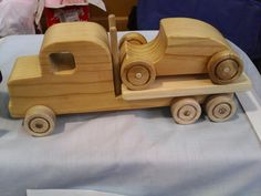 truck and car is made from pin wheels are pine axles are tasmanian oak and exhaust pips tasmanian oak tray is queensland maple