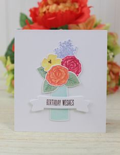 Dawn Woleslagle for Wplus9 featuring Coming Up Roses stamps and dies.
