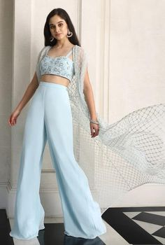 Pastel Blue Embroided Bustier With Pants Cape Set Indian Fashion Dresses, Indian Bridal Outfits, Indian Gowns Dresses, Dress Indian Style, Indian Designer Outfits, Wedding Outfits, Indian Fashion Trends, Indian Wear, Stylish Dress Designs