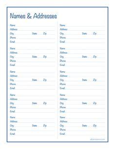 Names Addresses Free Printable Alaina Ann