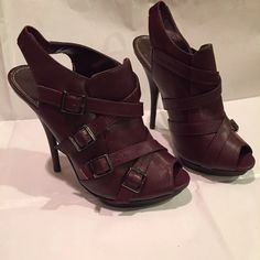 """Marco Santi burgundy slingback platform heel shoes Stylish heels by Marco Santi  Size 8  Burgundy in color  Accented by buckles  1/2"""" platform with 5"""" heel  Leather upper balance with man made materials  Trades Reasonable offers Marco Santi Shoes Platforms"""