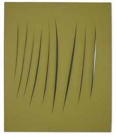 Lucio Fontana 1899 - 1968 CONCETTO SPAZIALE, ATTESE signed, titled and inscribed 1 + 1 - 78 AET on the reverse, waterpaint on canvas 73 by 60 cm. Executed in 1962.