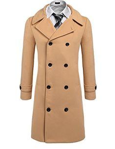 0102e412181 Coofandy Men s Trench Coat Winter Pea Coat Long Jacket Double Breasted  Overcoat at Amazon Men s Clothing store