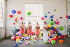 Colourful pom-pom wedding - this looks like an insanely fun day!
