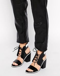 Senso Riley Black Leather Heeled Sandals