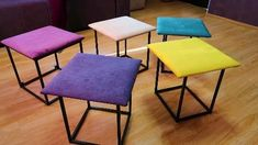 The Cube 5 in 1 transforming 1 ottoman or 5 chair. Welded Furniture, Loft Furniture, Iron Furniture, Space Saving Furniture, Home Decor Furniture, Furniture Plans, Furniture Design, Chair Design Wooden, Sofa Bed Design