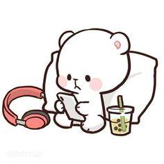 Cute Bear Drawings, Cute Little Drawings, Cute Kawaii Drawings, Kawaii Love, Cute Kawaii Animals, Love Cartoon Couple, Cute Love Cartoons, Cute Love Pictures, Cute Love Gif
