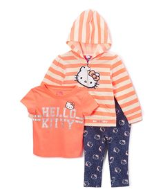 Take a look at this Orange Hello Kitty 3-Piece Legging Set - Toddler & Girls today!