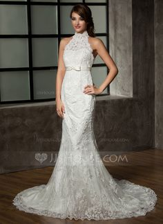 Trumpet/Mermaid Halter Chapel Train Satin Tulle Wedding Dress With Lace Bow(s) (002011461)